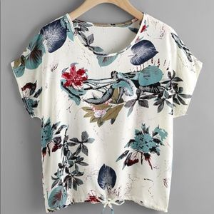 NEW Jungle Print Dolman Sleeve Drawstring Top